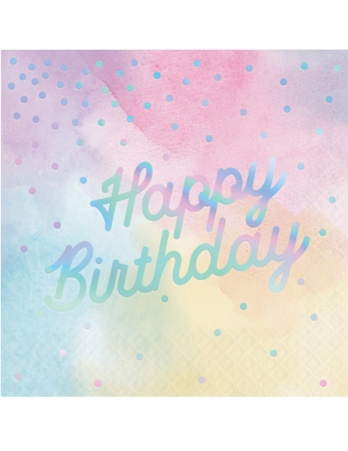 16 tovaglioli di carta Happy Birthday multicolor iridescenti