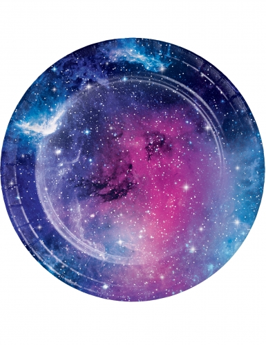 8 piattini in cartone galassia 18 cm