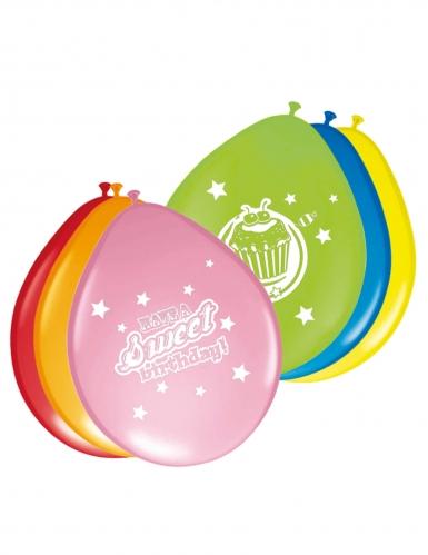 8 palloncini in lattice multicolor con dolcetti