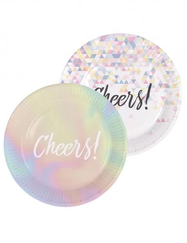 6 piatti in cartone Cheers iridescenti 23 cm