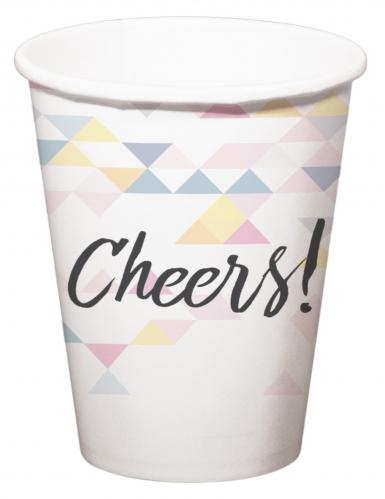 6 bicchieri in cartone Cheers motivo geometrico