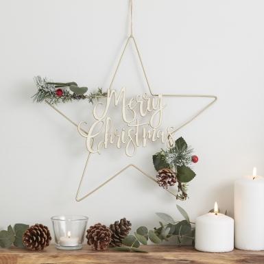 Sospensione in metallo con stelle Merry Christmas-1