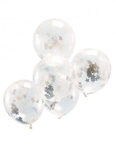 5 palloncini trasparenti con coriandoli stelle brillanti