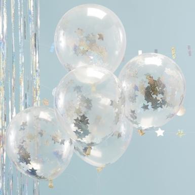 5 palloncini trasparenti con coriandoli stelle brillanti-1