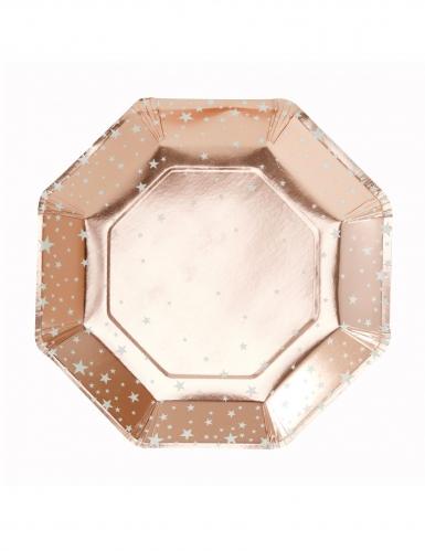 8 piatti in cartone oro rosa con stelle 25 cm