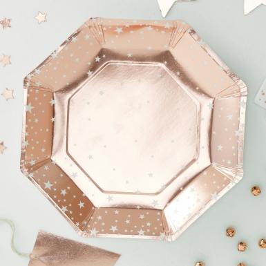 8 piatti in cartone oro rosa con stelle 25 cm-1