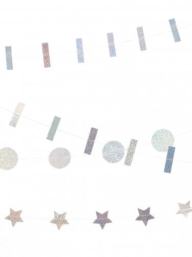 3 ghirlande con vignette iridescenti