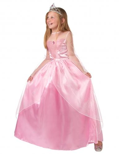 Costume lungo da principessa rosa bambina-1
