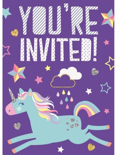 8 inviti di compleanno viola unicorno