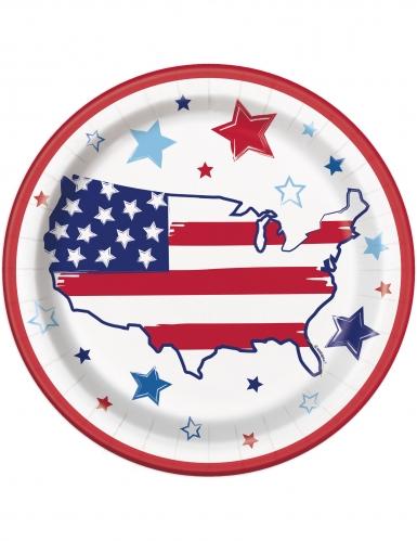 8 piatti in cartone stelle e strisce America 23 cm