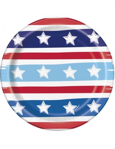 8 piattini stelle e strisce America 18 cm