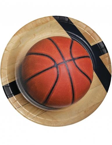 8 piatti in cartone pallone da basket 23 cm