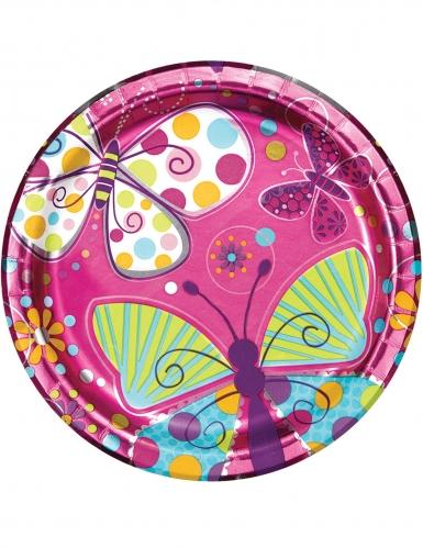 8 piatti in cartone rosa metallizzato farfalle 23 cm