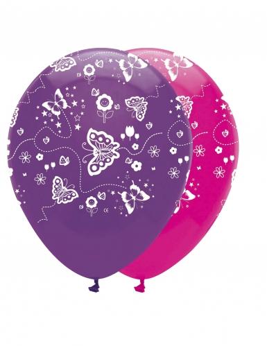 6 palloncini in lattice farfalle rosa e viola