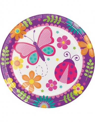 8 piatti in cartone farfalle e coccinelle 23 cm