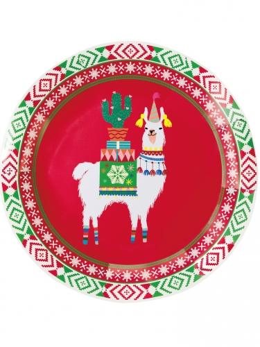 8 piatti in cartone lama natalizio 23 cm