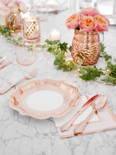 12 piatti in cartone stile porcellana oro rosa-1
