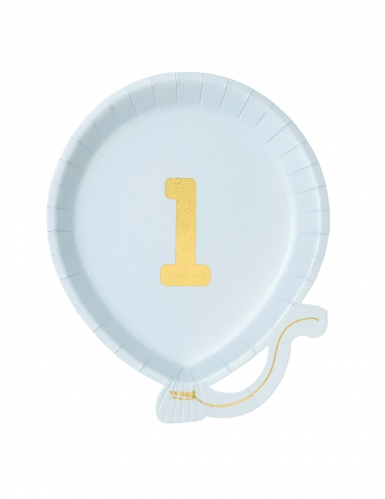 12 piattini a forma di palloncino celeste 1 anno 18 cm