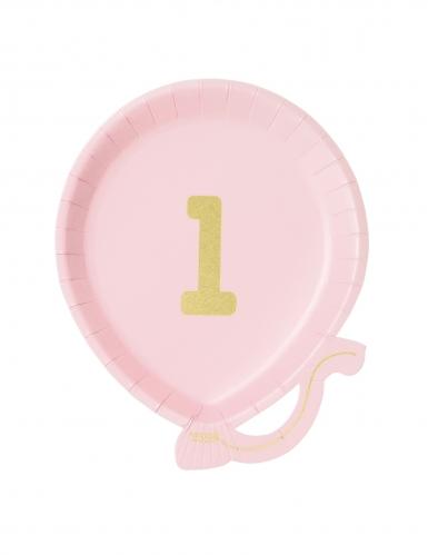 12 piattini a forma di palloncino rosa 1 anno 18 cm