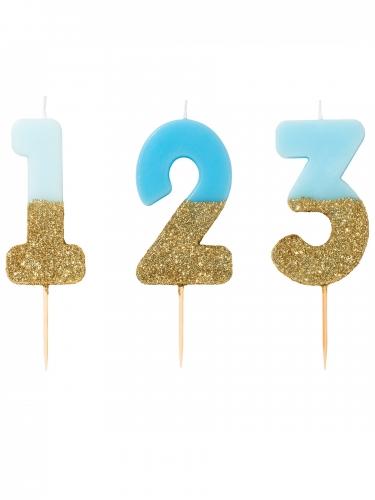 Candelina di compleanno celeste e oro con brillantini