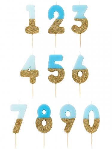 Candelina di compleanno celeste e oro con brillantini-1