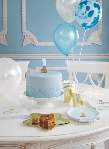 Candelina di compleanno celeste e oro con brillantini-2