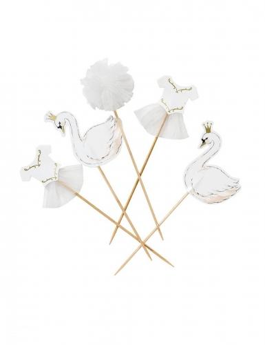 12 stecchini per dolci cigni bianchi e pon pon