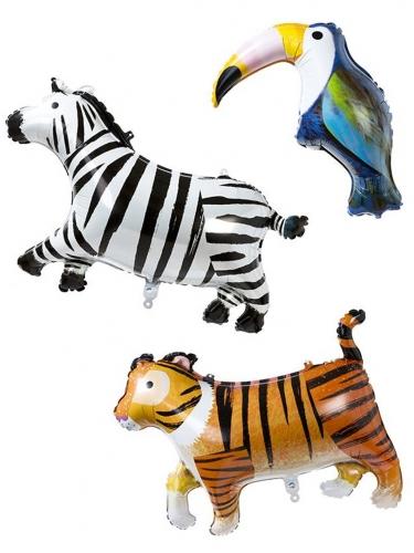 3 Palloncini in alluminio tigre zebra e tucano
