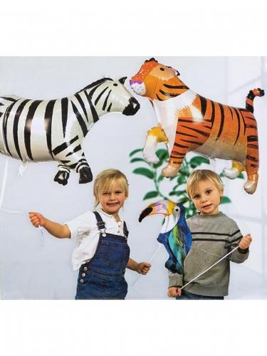 3 Palloncini in alluminio tigre zebra e tucano-2