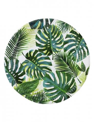 8 piatti in cartone tropical verde 23 cm