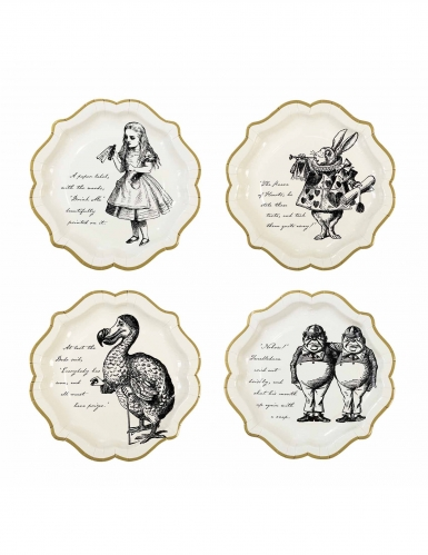 12 piatti in cartone Alice nel paese immaginario 23 cm