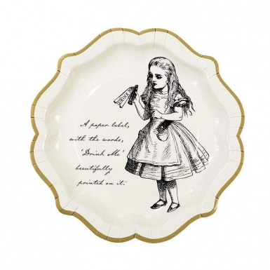 12 piatti in cartone Alice nel paese immaginario 23 cm-2