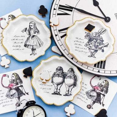 12 piatti in cartone Alice nel paese immaginario 23 cm-4