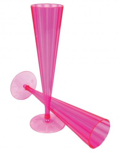 10 calici da champagne in plastica rosa