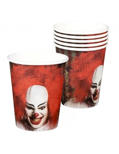 6 Bicchieri in cartone Clown terrificante 25cl
