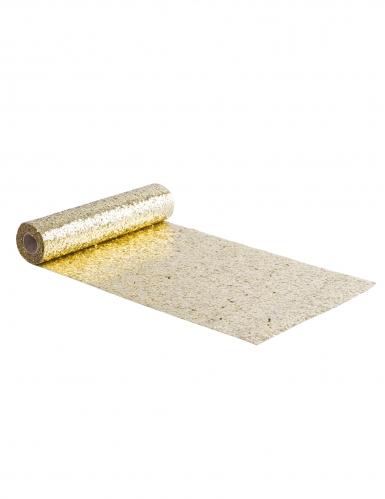 Runner da tavola in plastica con paillettes color oro
