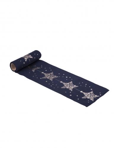 Mini runner da tavola in lino blu stelle oro