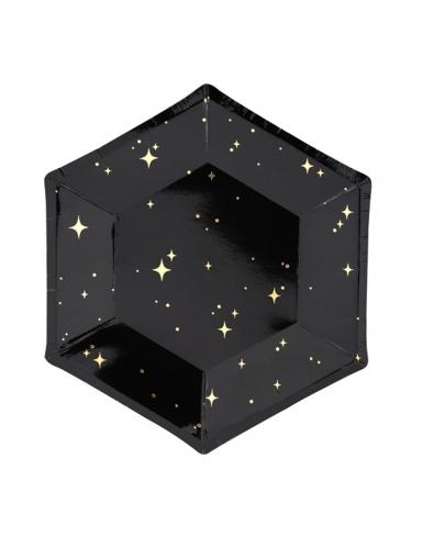 6 piatti in cartone neri con stelle oro 20 cm