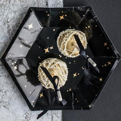 6 piatti in cartone neri con stelle oro 20 cm-1