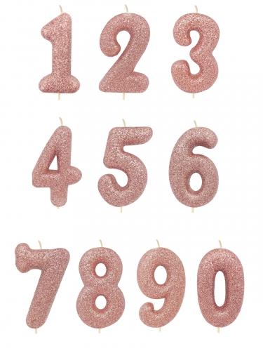 Candelina di compleanno con numero oro rosa e brillantini-1