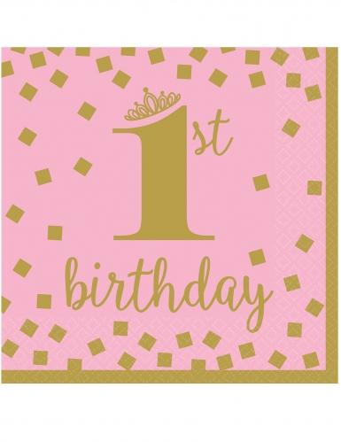 16 tovaglioli 1° compleanno oro e rosa