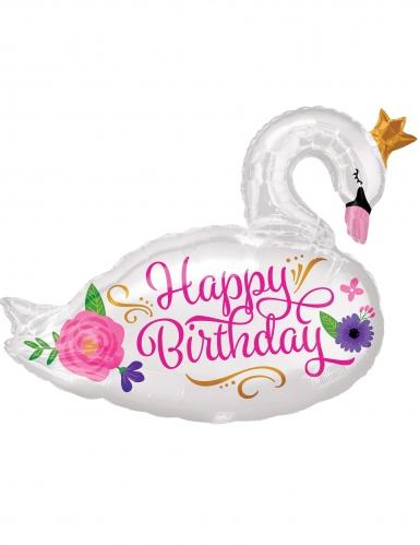 Palloncino alluminio Happy Birthday cigno