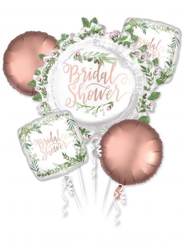 5 palloncini alluminio oro rosa e fiori Bridal Shower