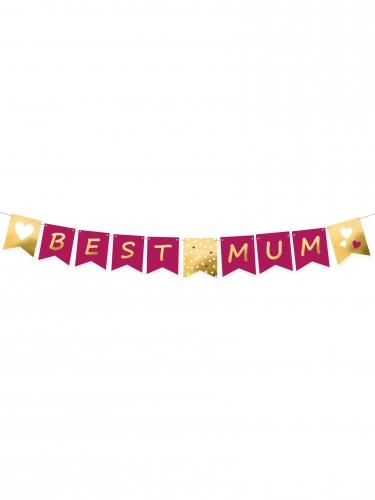 Ghirlanda in cartone Best Mum fucsia e oro