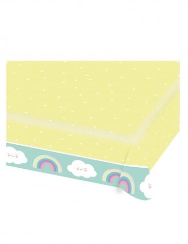 Tovaglia di carta gialla e color menta nuvoletta