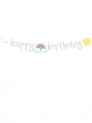 Ghirlanda Happy Birthday iridescente con nuvolette-1