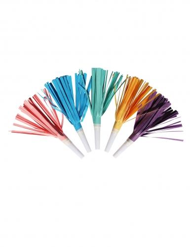 8 mini trombette con frange multicolor