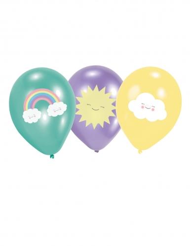 6 palloncini in lattice colorati con nuvolette