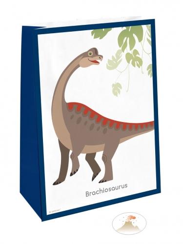 4 sacchetti regalo grandi dinosauri con adesivi