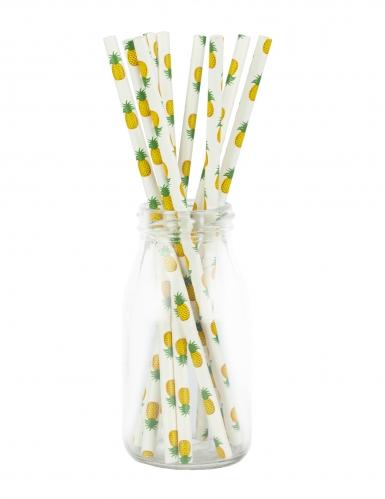 10 cannucce in cartone bianco con ananas